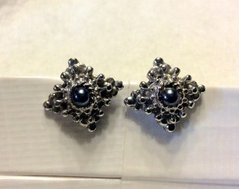 Hematite cabochons silver toned metal clip on earrings. Square shape. Free ship.