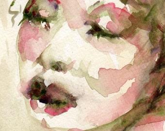 New Size Watercolor Print, 4 x 6, Female Figure, Red Lips, Wall Art Giclee, Romantic Art, Figurative Art, Female Portrat, Portrait Art