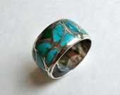 Vintage Man's Sterling Turquoise Inlay Wide Band Ring Size 11.5 Multi Color Turquoise Mosaic