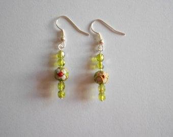 Green Beads Earrings Cloisonne Earrings Czech Glass Beads Pink Flowers Green Earrings  Pierced Earrings Dangle Earrings Enamel Beads