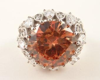 Size 8.5 Vintage Sterling Orange Glass Rhinestone Cocktail Ring