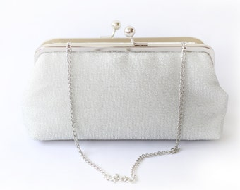 Shimmery Silver Clutch for Bride, Bridesmaid, Mothers