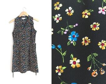 FLORAL MINI DRESS // Grunge - Sleeveless Collared Mini Dress - V-Neck - Vintage '90s. Size S/M.