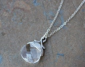Clear Crystal briolette necklace - Swarovski faceted crystal on sterling silver chain - free shipping USA