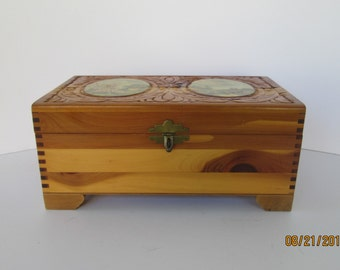 Carved Wood Cedar Box
