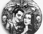 Needle Minder, Licensed Art By Medusa Dollmaker,Morticia Addams, Gomez,Halloween, Cross Stitch Keeper,  Fridge Magnet, Pattern Holder,