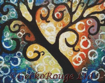 Modern Cross Stitch Kit, Helen Janow Miqueo, 'Tree Of Life', Whimsical Wall Art