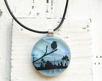 Bird - Jewelry - Fused Glass Dichroic Pendant - Fused Glass Jewelry - Dichroic Fused Glass Pendant - Necklace - Fused Dichroic Jewelry
