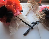 3 Vintage Fabric Flower Bouquets * Fabric Poms * Pommery * Alternative Brides and Weddings * Hat Decor and Wands