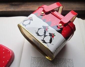 Vintage Tin box * Winter Tin * Holiday Basket * Tin Basket with Handles * 1980's Penguins *  Snow *  Christmas