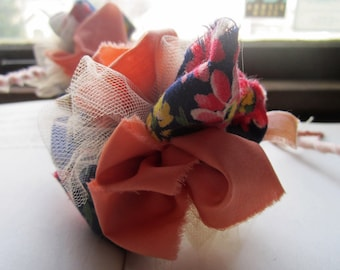 4 Fabric Boutonnieres * Corsages * Mini Fabric Flower Poms