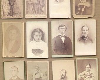 12 Different Antique CDV Photographs 1860-1880 Vintage Historic Photos Lot11