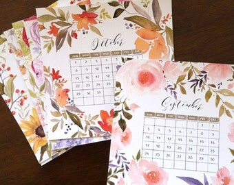 Calendar - Watercolor Bouquet 2017 Printed Calendar - Desk / Tabletop Calendar