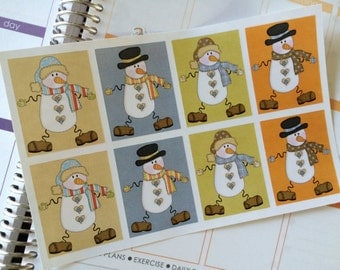 Snowman Stickers Full Box Stickers, Planner Stickers