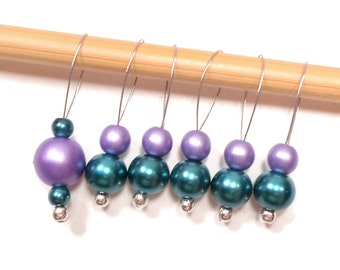 Knitting Stitch Markers Beaded Dark Teal Purple Snagless Snag Free Knitting Markers