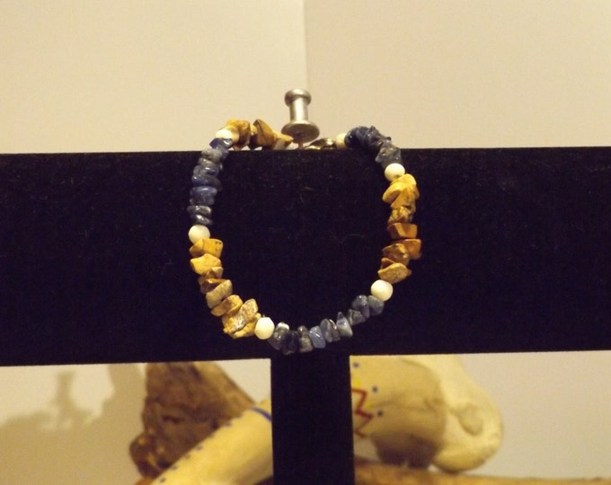 Sodalite and Picture Jasper Healing Bracelet, Healing Crystals and Gemstone Jewelry, Healing Jewelry, Healing Crystal and Stones