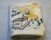 Towel with Embroidery, Honey Bee Towel, The Builder, Embroidered Dish towel, Hand Embroidery, Kitchen Towel