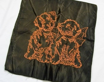 Satin Pillow Cover, Vintage Satin Pillow Cover, couch pillow, Brown Satin, accent pillow, Puppy Pillow, one of a kind, Cute Puppy Pillow
