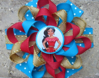 Princess Elena of Avalor Inspired Custom Boutique 3 Layer Loopy Flower Boutique Hair Bow