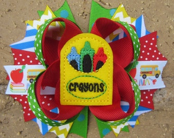 Ready to Ship Crayon School Days Back to School Custom Boutique Hair Bow BTS Pre-K Kindergarten First Grade Second Grade Third Grade