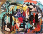 Abstract Modern Painting, Expressionist Art, Contemporary Painting, black, blue, red, yellow, orange, Russ Potak modern art