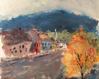 Manchester Vermont original painting, art collectors gift, vintage scene, hand made art, hand painted impressionist unique painting