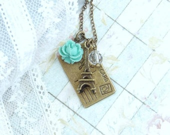 Eiffel Tower Necklace Turquoise Rose Necklace Paris Necklace I Love You Necklace French Necklace