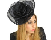 Rose Black Fascinator Hat for Weddings, Races, and Special Events With Headband