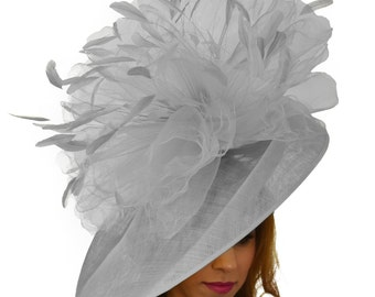 Mundhoo Grey Fascinator Hatinator Hat for Kentucky Derby, Weddings on a Headband (20 colours available)