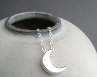 """small crescent moon necklace. sterling silver bead small celestial dainty jewelry simple summer choker charm delicate everyday pendant. 1/2"""""""