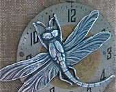 Steampunk Pendant -  Dragonfly  - Steampunk Pendant made with real vintage pocket watch parts