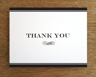 Thank You Card Template - Black Stripe - Black and White Printable Thank You Note - Printable Thank You Card - Thank You Note Download