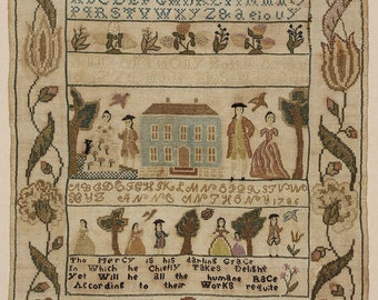 Colonial Sampler Antique Embroidery Pattern Museum Sampler Created In 1786 By A 10 Year Old---This Pattern Is A Remake Of Original--