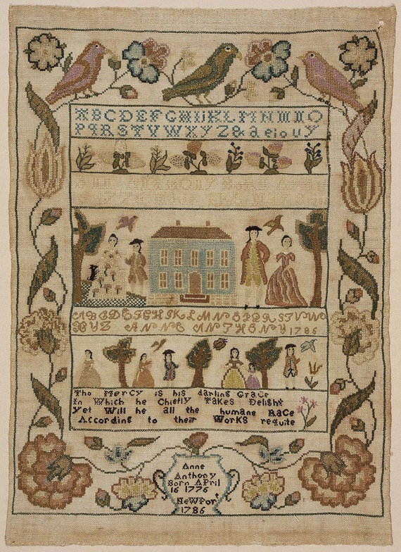 Colonial sampler antique embroidery pattern museum
