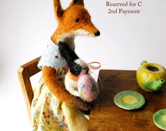 Reserved for C Second  Payment Needle felted Fox Fox and Rabbit Original Art Dolls Little Vixen and Bunny