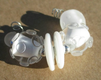 Winter White Bead Set (6) Lampwork Beads -SRA