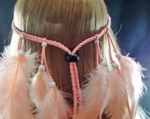 Long Peach Feather Headband Native American Hippie Bohemian Coutry Western Tribal