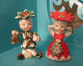 Adorable Rare Set of Vintage Christmas Napco Sweethearts Salt and Pepper Shakers