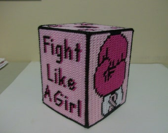 Fight Like A Girl Tissue Box Cover, Breast Cancer Awareness Tissue Box Cover