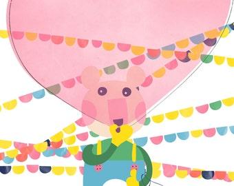 Bear art print -  Far from home -Nursery Art,Children Decor,nursery wall art, playroom decor,bear & bird nursery art print,Girl Nursery