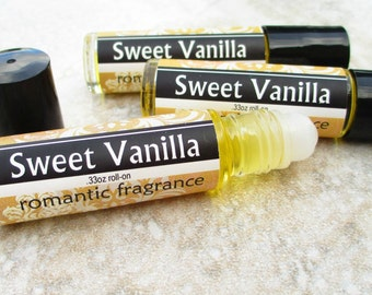 Sweet Vanilla Roll On Perfume, unisex fragrance, classic vanilla with a hint of sweet, concentrated vegan formula