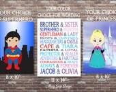 Superhero and Princess,Brother and Sister,SET,Personalized Brother and Sister Art,PRINTABLE DOWNLOAD, Custom Brother and Sister Art,