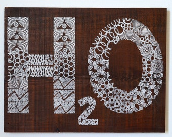 Reclaimed Repurposed Wood-Upcycled, Hand Printed, Wall art,ready to hang, Water, H2O,