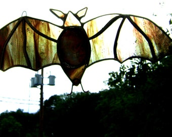 Bats Stained Glass Anne Rice Bat Halloween Gothic Vampire Count Dracula Lestat Pagan Yule Trueblood Wiccan New Orleans OOAK Original Design©