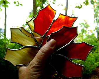 Maple Leaf Canadian Red Stained Glass Ornament Expats Autumn Fall Souvenir Christmas Canada150 Harvest Old Home Week New England Original©