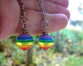 Rainbow Pride Earrings Jewelry Gay Lesbian Same Sex Diversity Global Handmade Original Design©
