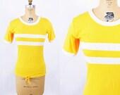 COLUMBUS DAY SALE // 1970s top vintage 70s yellow white stripe waist tie t shirt S