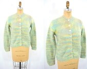 1960s cardigan vintage 60s gray green gradient sweater M/L