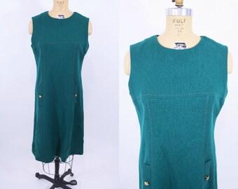 "1960s dress vintage 60s mod green orange thread sleeveless shift dress M W 35"""