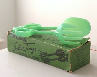 Vintage Green Tupperware Salad Tongs and Original Box